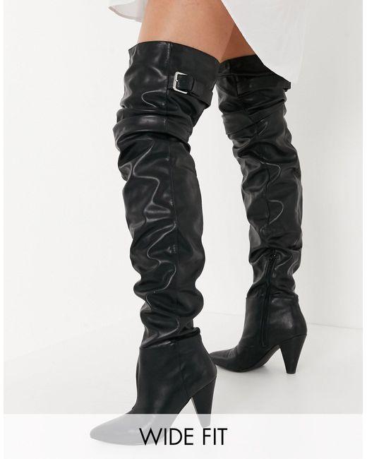 Черные Сапоги-ботфорты С Голенищем Гармошкой Для Широкой Стопы ASOS, цвет: Black