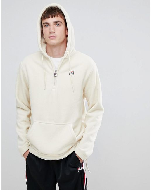 565cc89868e4 Fila - White Line Teddy Fleece Hoodie With Small Logo In White for Men -  Lyst ...