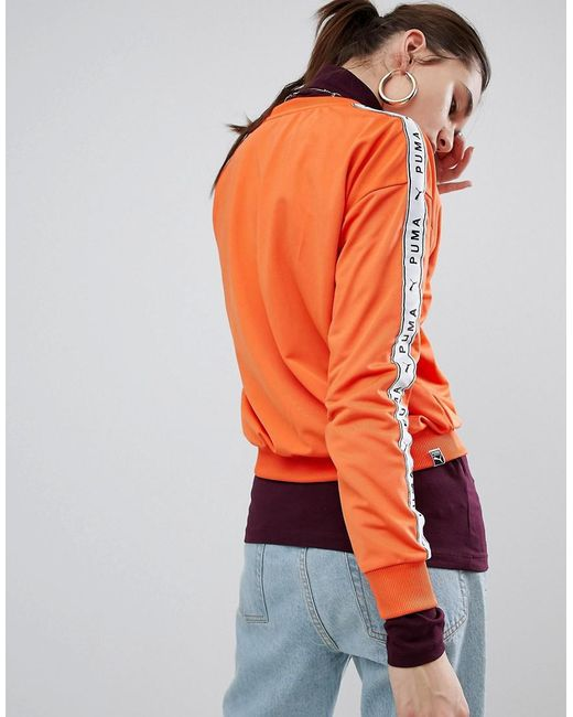 426f0e78aea ... PUMA - Exclusive To Asos Sweatshirt With Taped Side Stripe In Orange -  Lyst