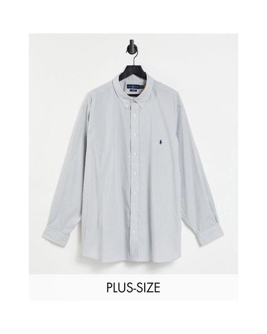 Рубашка В Серую И Белую Полоску Из Поплина С Логотипом В Виде Игрока В Поло Big & Tall-серый Polo Ralph Lauren для него, цвет: Gray