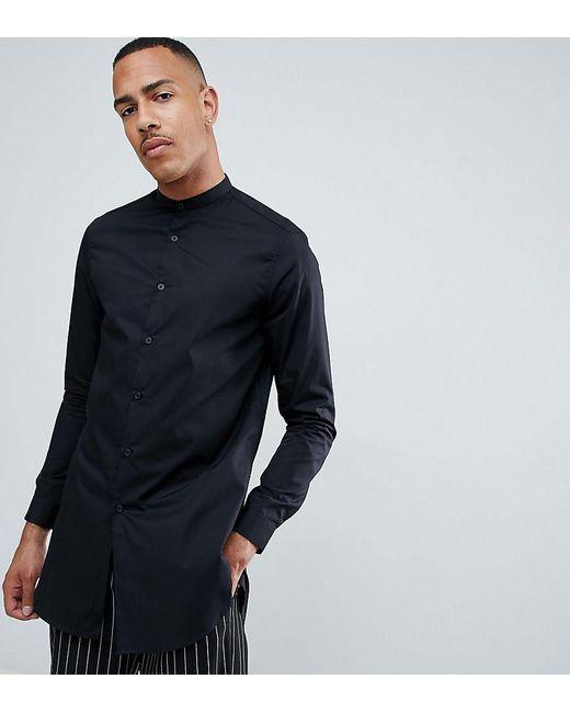bcfb7422e8b ASOS - Tall Regular Fit Super Longline Shirt With Grandad Collar In Black  for Men ...