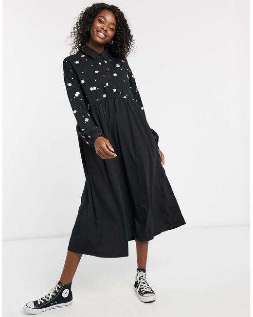 Vestido camisero amplio con bordado en negro ASOS de color Black