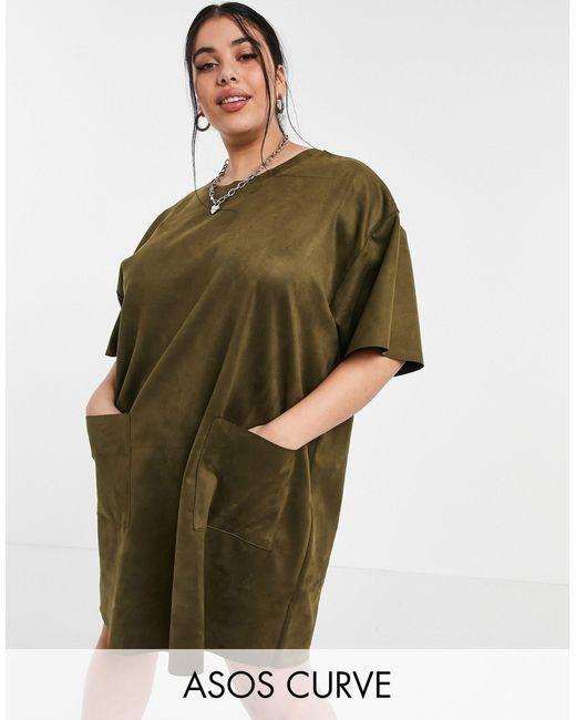 Vestido estilo camiseta caqui extragrande ASOS de color Green