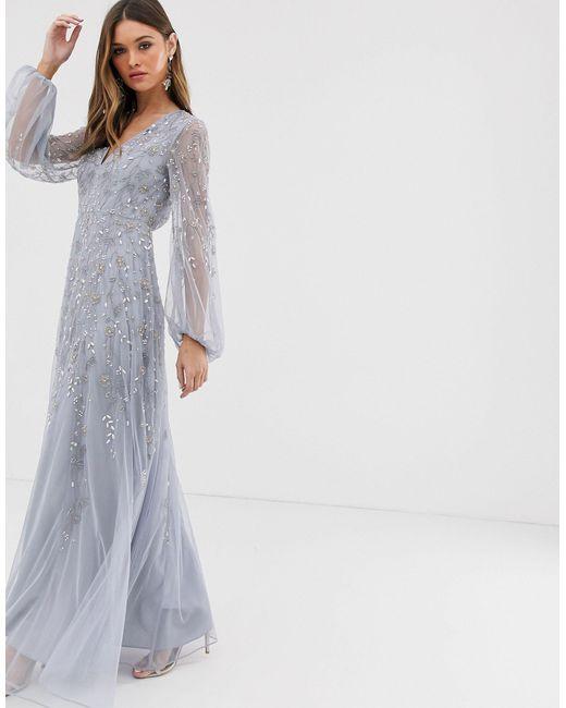 Платье Макси С Пышными Рукавами И Цветочной Отделкой ASOS, цвет: Purple