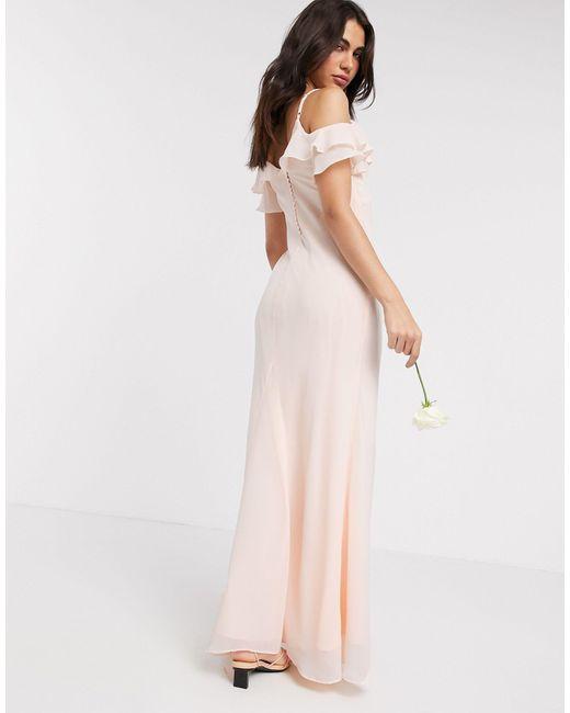 Светло-розовое Платье Макси С Оборками И Пуговицами На Спине Bridesmaids-розовый Warehouse, цвет: Pink