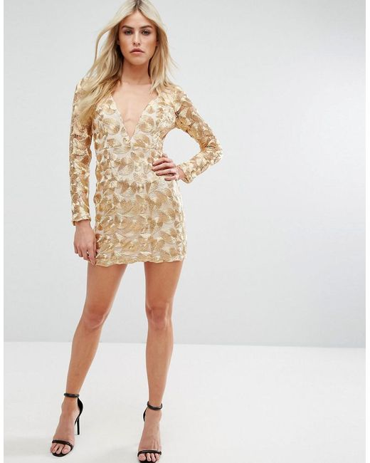 V Neck Mini Dress In All Over Metallic Lace - Gold Love Triangle 2018 New New For Sale Discount Ebay Sale Latest Outlet Finishline LDU3xc0