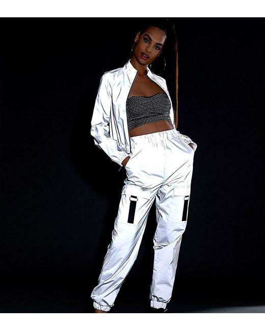 Pantalon cargo à détails réfléchissants (ensemble Daisy Street en coloris Metallic