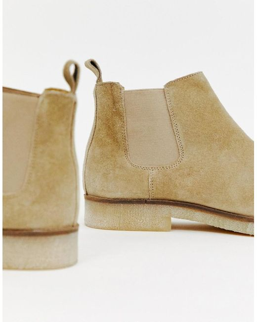 Wide Fit Chelsea Boots In Stone Suede With Natural Sole