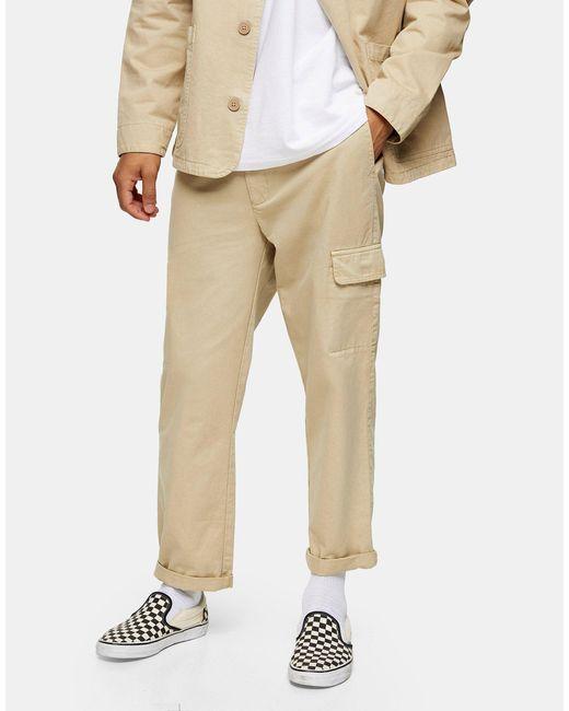 Topman Natural Organic Cotton Wide Leg Cargo Trousers for men