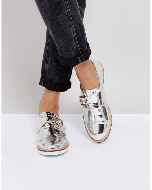 London Rebel - Metallic Buckle Monk Shoe On White Sole - Lyst