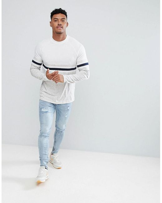 DESIGN t-shirt with contrast sleeves in interest nepp fabric - Grey Asos Quality Free Shipping Outlet Low Price Sale Online Brand New Unisex Cheap Online Order Cheap Price Tmwog