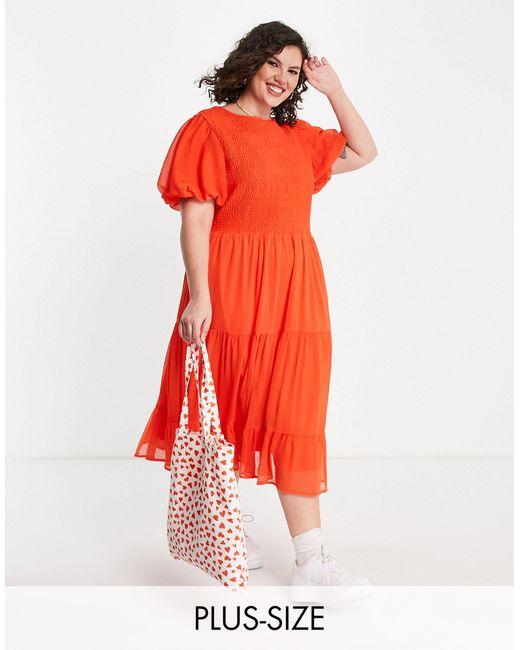 Robe mi-longue à fronces Simply Be en coloris Red