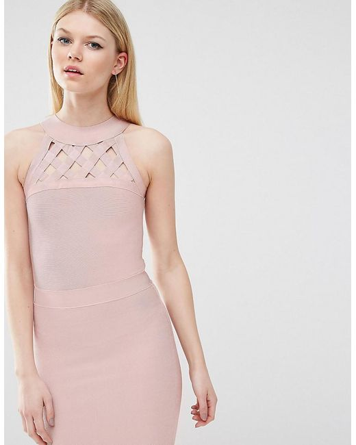 True Decadence | Pink Bandage Dress With Lattice Detail | Lyst