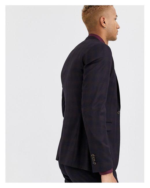 Giacca da abito slim bordeaux a quadri di Topman in Blue da Uomo