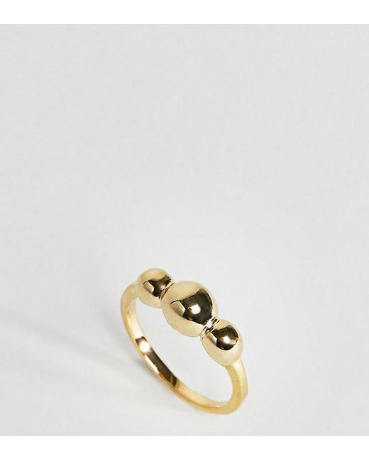 ASOS - Metallic Gold Plated Sterling Silver Triple Ball Ring - Lyst