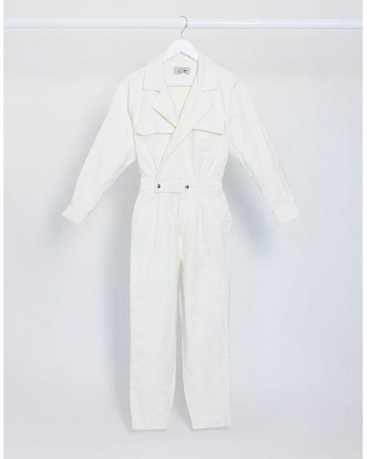 Джинсовый Комбинезон Кремового Цвета -кремовый New Look, цвет: White