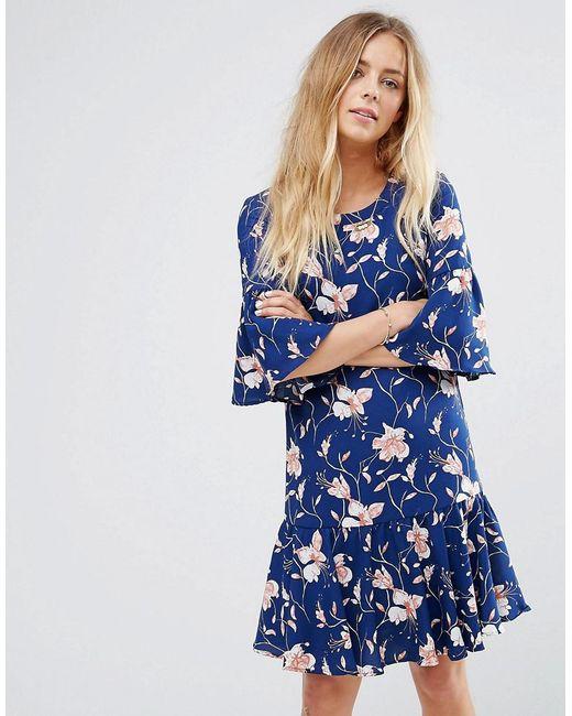 622dfec8f6 Vila - Blue Floral Print Flute Sleeve Dress - Lyst ...
