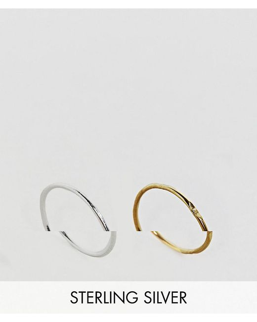 ASOS | Metallic Gold Plated Sterling Silver Pack Of 2 Mixed Rings | Lyst