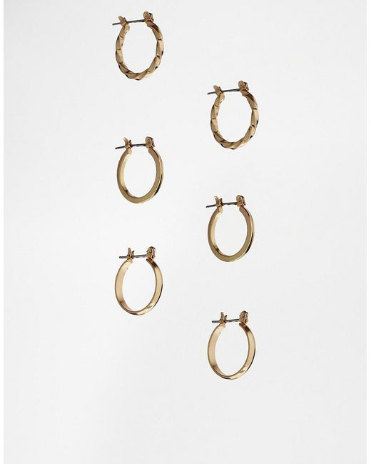 ASOS | Metallic Pack Of 3 20mm Hoop Earrings | Lyst