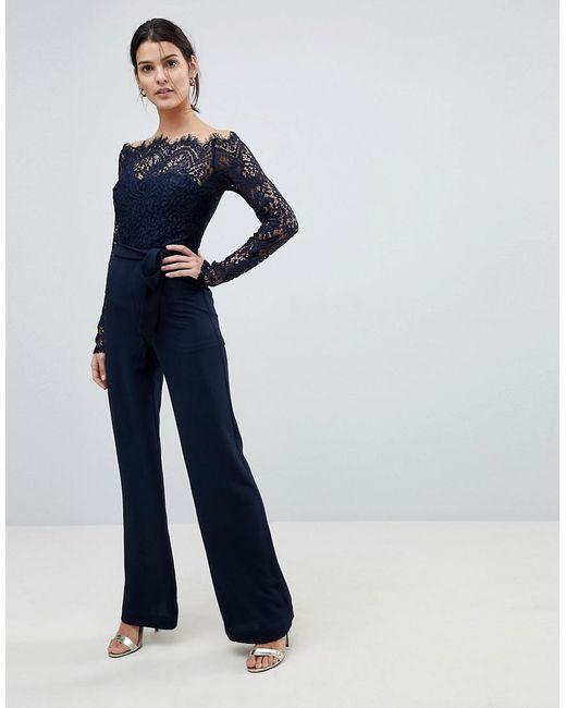8846f8a8074 Lioness - Blue Off Shoulder Lace Top Wide Leg Jumpsuit - Lyst ...