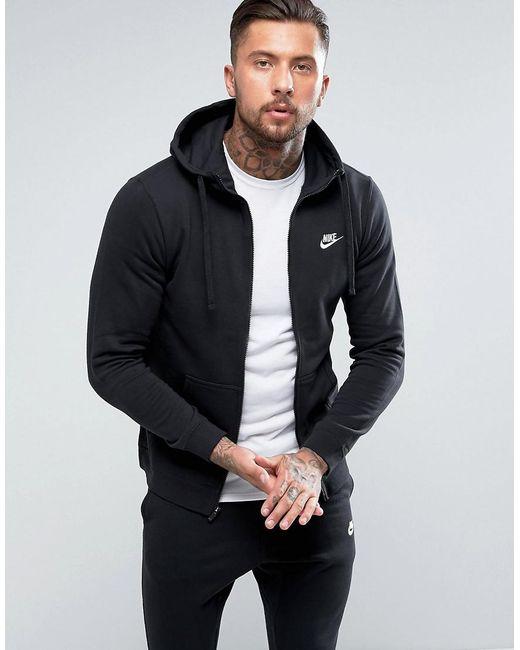 ba46d5a5b Nike Club Full Zip Hoodie In Black in Black for Men - Lyst