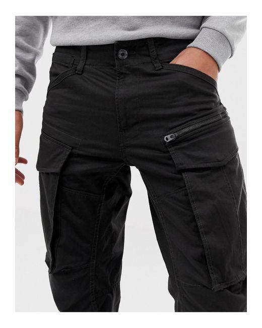 Rovic - Pantalon cargo coupe fuselée avec fermeture éclair 3D G-Star RAW pour homme en coloris Black
