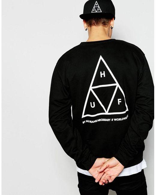 Huf Black Triple Triangle Sweatshirt for men