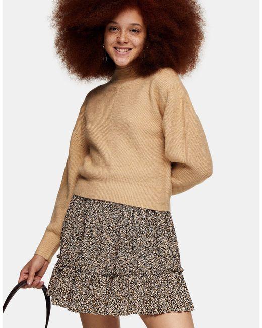 Бежевый Укороченный Джемпер С Переплетением -коричневый Цвет TOPSHOP, цвет: Multicolor