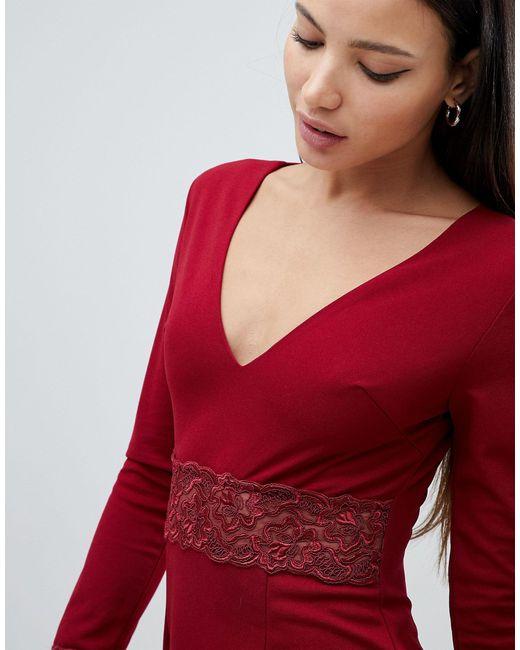 Платье С Длинными Рукавами, Кружевом И V-образным Вырезом -красный AX Paris, цвет: Red