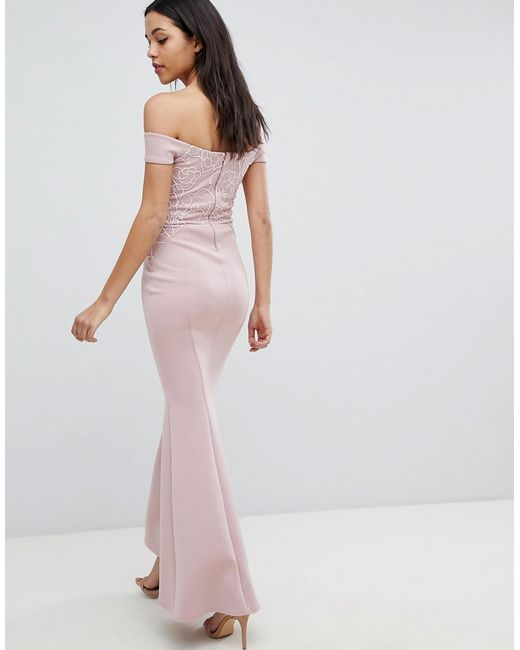 30c447b8 ... Lipsy - Pink Fishtail Maxi Dress With Sequin Lace Trim - Lyst