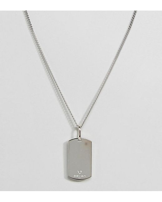 Seven London   Metallic Sterling Silver Dog Tag Necklace In Silver for Men   Lyst