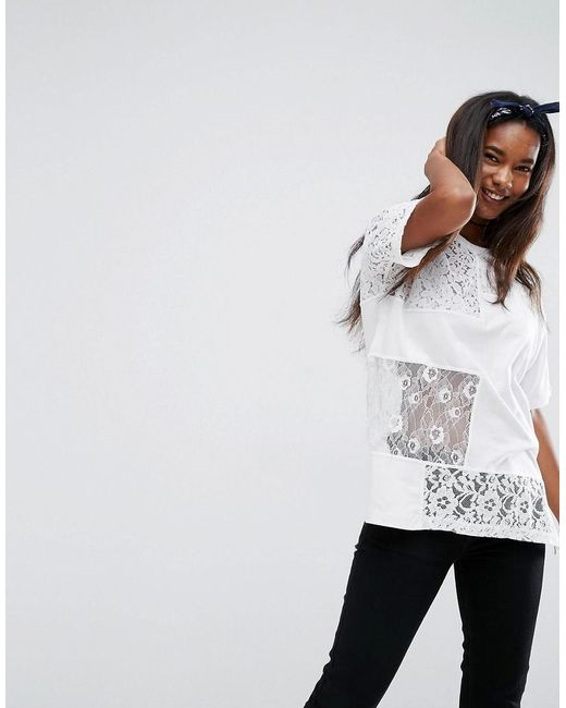 ASOS   White T-shirt In Oversized Fit With Cutabout Lace   Lyst