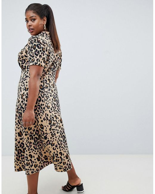 6bbc10282d2f ... ASOS - Multicolor Asos Design Curve Animal Print Midi Tea Dress - Lyst