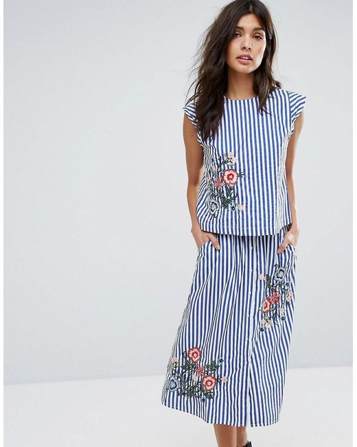 Mango | Blue Stripe And Embroidered Top | Lyst