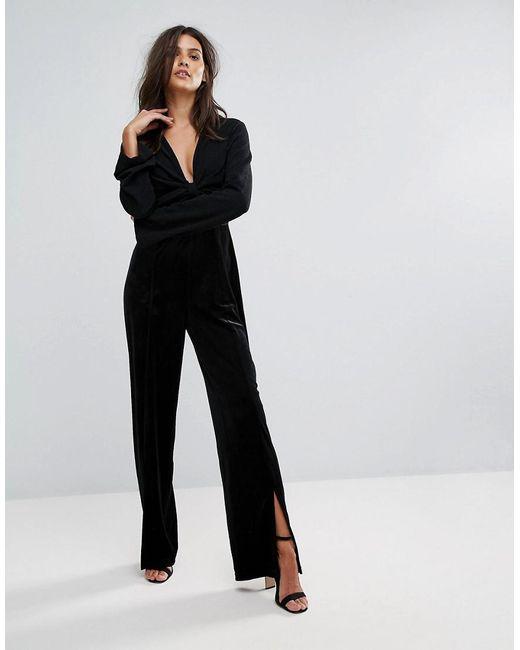lyst vero moda velvet plunge jumpsuit in black. Black Bedroom Furniture Sets. Home Design Ideas