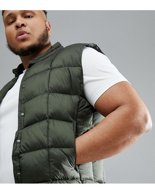 ASOS 4505 Green Plus Packable Vest With Quilting In Khaki for men