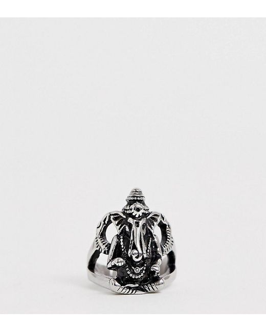 Reclaimed (vintage) Metallic Inspired Ganesh Style Chunky Ring In Stainless Steel Exclusive To Asos for men