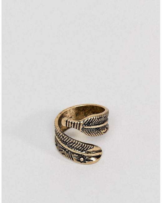ASOS - Metallic Design Ring With Wrap Around Feather In Burnished Gold for Men - Lyst