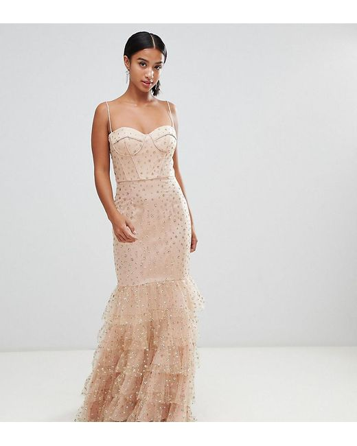 Jarlo - Glitter Star Tulle Maxi Dress With Basque Top And Ruffle Hem In Pink - Lyst
