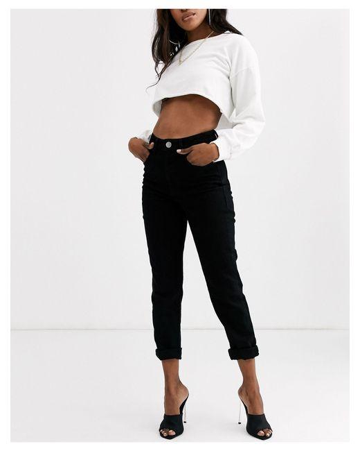 Farleigh - Mom jeans slim a vita alta nero pulito di ASOS in Black