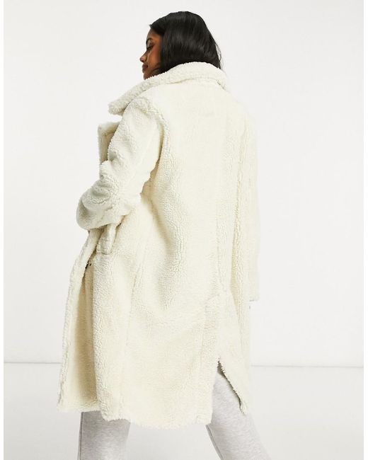 NA-KD Natural Double Breasted Long Teddy Coat