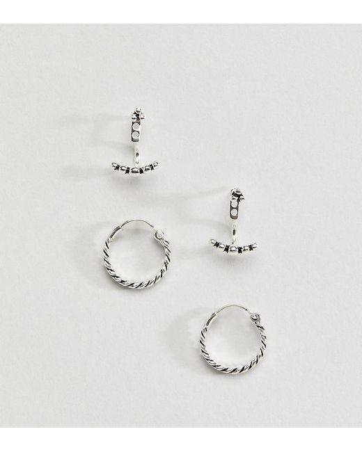 ASOS | Metallic Sterling Silver Pack Of 2 Twist Hoop And Ball Swing Earrings | Lyst