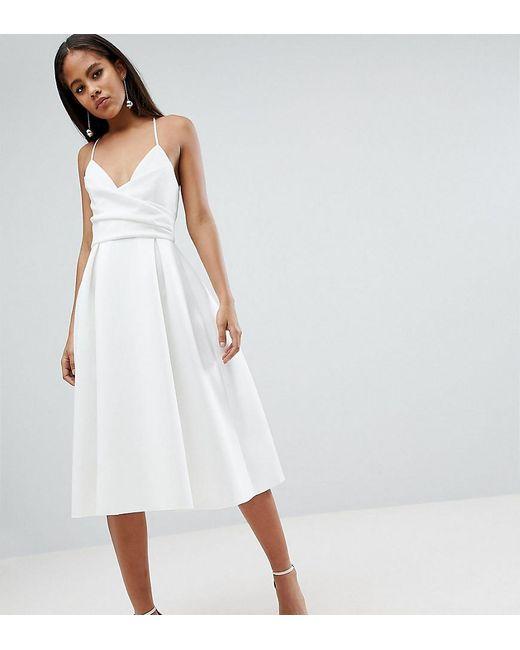 b0961bad88e ASOS - White Asos Design Tall Scuba Cami Prom Midi Dress - Lyst ...