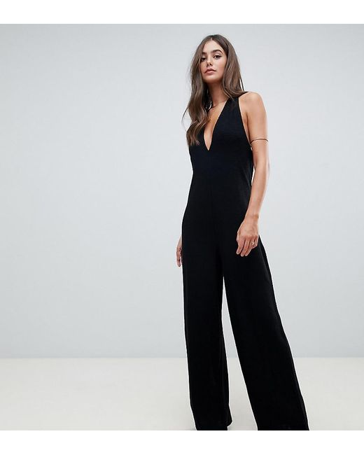 40a44f172c1 ASOS - Black Asos Design Tall Halter Neck Jumpsuit With Plunge Front - Lyst  ...