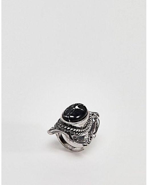 ASOS - Metallic Design Large Stone Festival Ring - Lyst