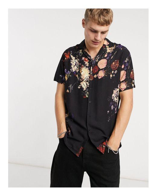 Criminal Damage – Hemd mit durchgehendem Blumenprint in Black für Herren