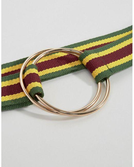 Oversized Ring Stripe Webbing Belt - Multi Asos WKylSnQj5