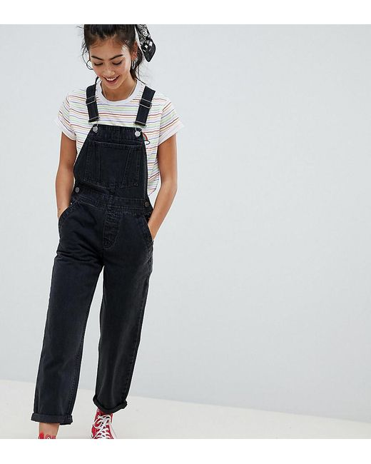 2f3f97f65f0 ASOS Asos Design Petite Denim Overall In Washed Black in Black - Lyst