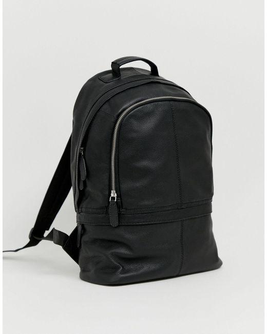 ASOS Black Leather Backpack for men