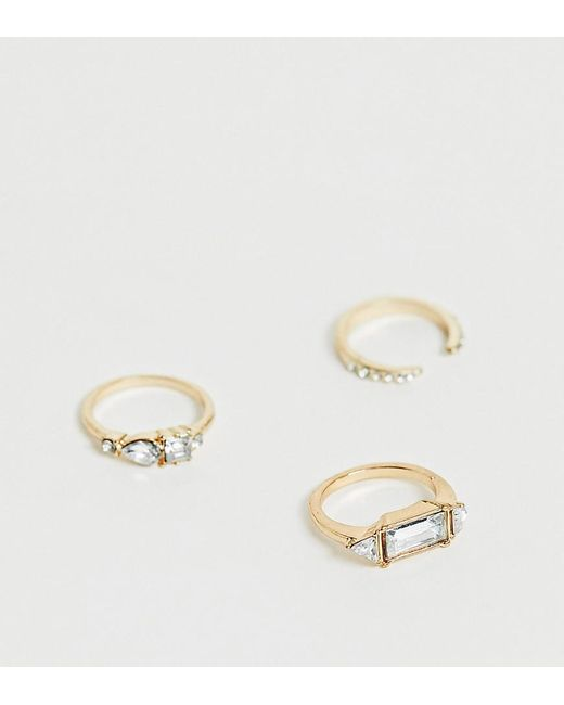 Reclaimed (vintage) Metallic Inspired Ring Multipack With Crystal Detail
